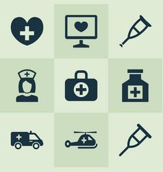 Medicine icons set collection spike diagnosis vector