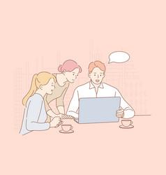 meeting coworking teamwork analysis leadership vector image