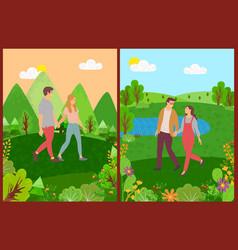 meeting lovers couple walking outdoor vector image