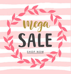 Mega sale banner template vector