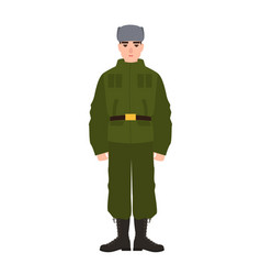 Military man of russian armed force wearing army vector