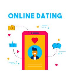 Online dating social media date app concept design vector