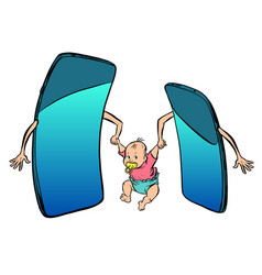Online learning smartphones raise a child mom vector