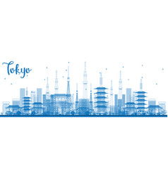 Outline tokyo skyline with blue buildings vector