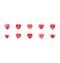 Pack of hearts flat icons vector