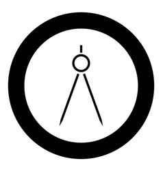 Pair of compasses icon black color in circle or vector
