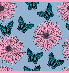 pattern of gerberas and butterflies vector image