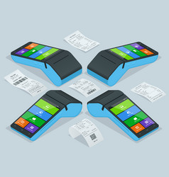 payment machine and cash receipt pos vector image