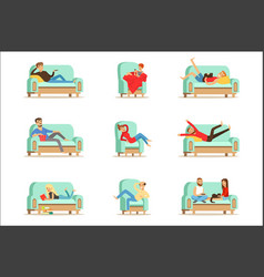 People resting at home relaxing on sofa or vector