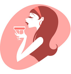 Pin up girl drinking cocktail vector