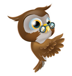 Pointing cute owl vector