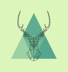 polygonal reindeer head vector image
