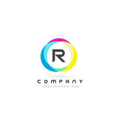 R letter logo design with rainbow rounded colors vector