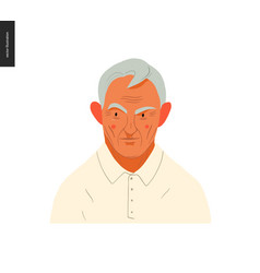 Real people portraits - grey-haired man vector