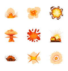 Realistic explosion icons set cartoon style vector