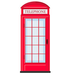 Red telephone booth with glass door vector