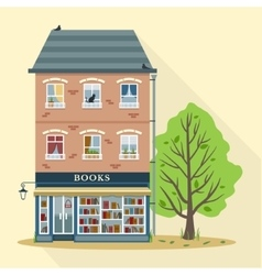 Retro house with books shop vector image