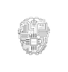 Robot brain shown as digital circuit scheme vector
