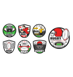 rugby sport icons american football signs vector image