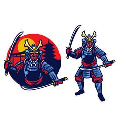 Samurai ronin mascot vector