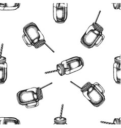 seamless pattern with black and white smothie jars vector image