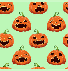 Seamless pattern with different halloween pumpkins vector