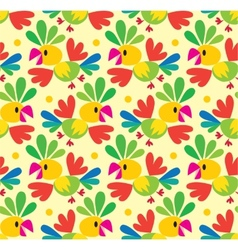 Seamless pattern with funny parrot vector