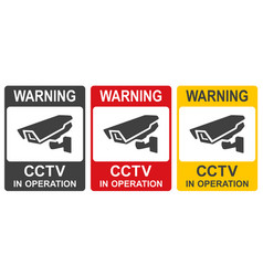 set closed circuit television signs cctv vector image