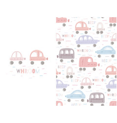 Set of cute delicate childish card and pattern vector