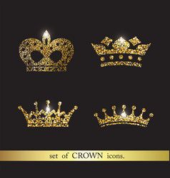 Set of gold crown icons vector