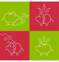 Set of with a piggy bank vector