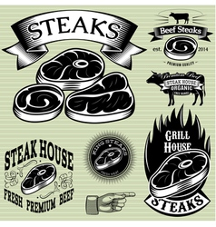 set template for grilling barbecue steak house men vector image