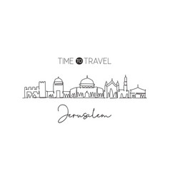 Single continuous line drawing jerusalem vector
