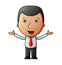 Smiling cartoon businessman opens his arms vector