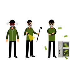 Smirking male burglar or robber in black mask vector