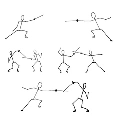 Stick human figures set vector