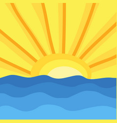 sun and ocean waves hand draw vector image