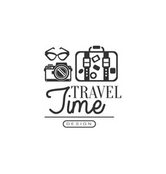 tour operator label with traveler accessories vector image