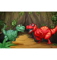 Two dinosaurs by the cave vector