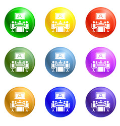 video conference icons set vector image