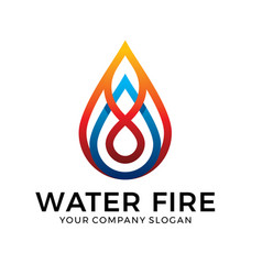 water logo design with blue and orange color vector image