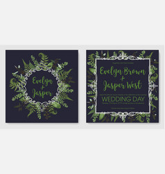 wedding invitation set greeting card save date vector image