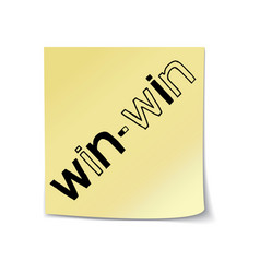 Win-win lettering on sticky note template vector