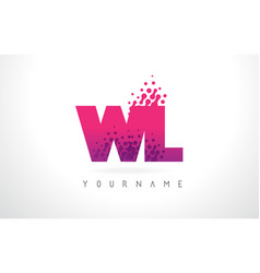 wl w l letter logo with pink purple color and vector image