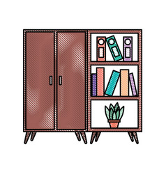 wooden cabinet and bookcase pot with plant vector image