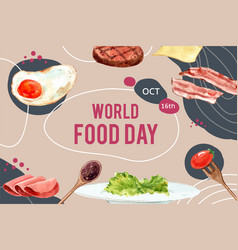 World food day frame design with fried egg bacon vector
