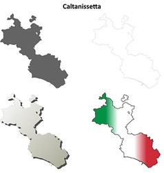 Caltanissetta blank detailed outline map set vector