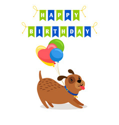 cute dog and balloons birthday card vector image