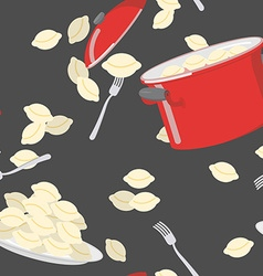 Dumplings pattern seamless Casserole with vector image