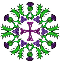 floral thistle and Celtic knot rosette vector image vector image